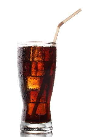 a straw: Glass of cola with ice isolated on white Stock Photo