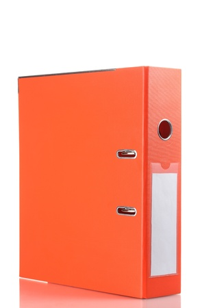 Office orange folder isolated on white photo