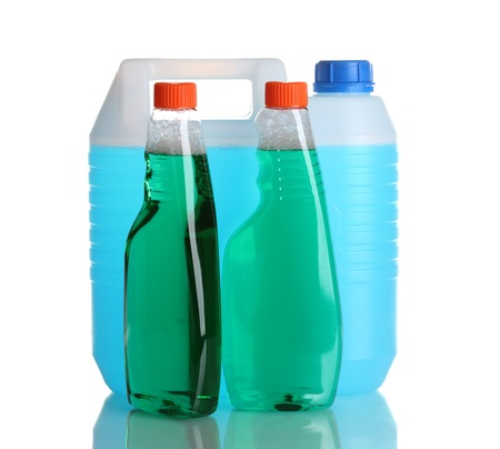 canister with liquid and detergent bottles isolated on white Stock Photo - 11831457