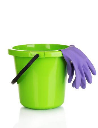 cleaning supplies: bucket and gloves for cleaning isolated on white