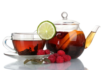 Black fruit tea in glass teapot and cup isolated on white Stock Photo - 11831661