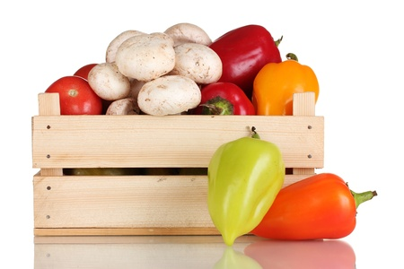 fresh vegetables in wooden box isolated on white Stock Photo - 11911911