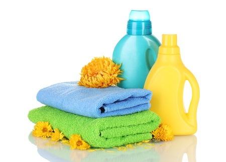 laundry detergent: Towel and cleaning isolated on white Stock Photo