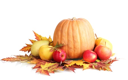 autumn harvest: beautiful autumn harvest and leaves isolated on white