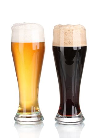 black and golden beer in glasses isolated on white Stock Photo - 11911373