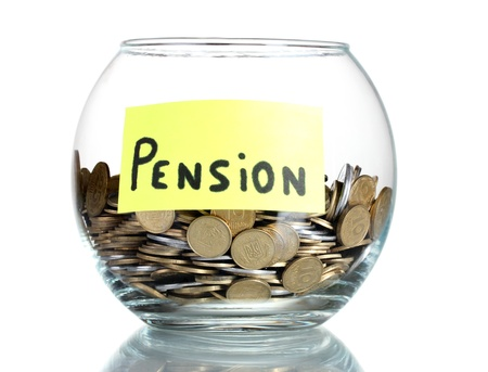 pension fund: Clear glass jar for tips with money isolated on white Stock Photo