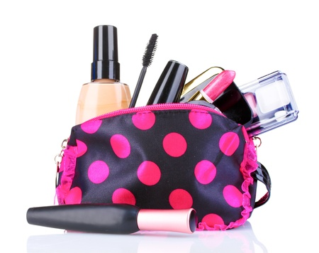tool bag: beautician with makeup isolated on white Stock Photo