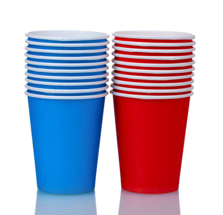 plastic cup: blue and red plastic cups isolated on white