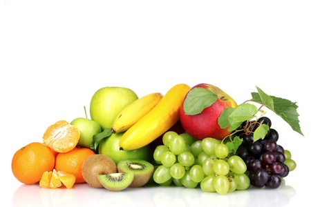 Ripe juicy fruits isolated on white Stock Photo