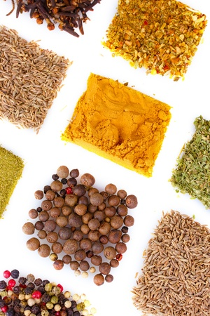 spices isolated on white photo