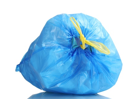 blue garbage bag with trash isolated on white Stock Photo - 12020585