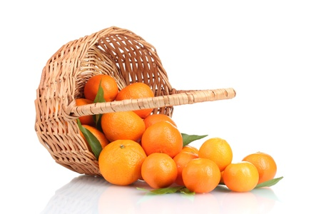 tangerines with leaves in a beautiful basket isolated on white Stock Photo - 12020610