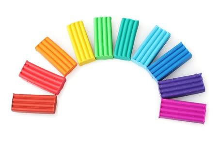 Children bright plasticine isolated on white Stock Photo - 12021210
