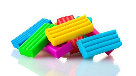 Children bright plasticine isolated on white Stock Photo - 12021240