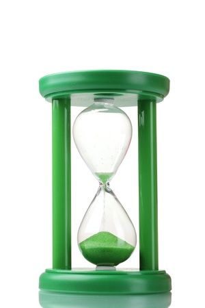 green hourglass isolated on white Stock Photo - 12021194