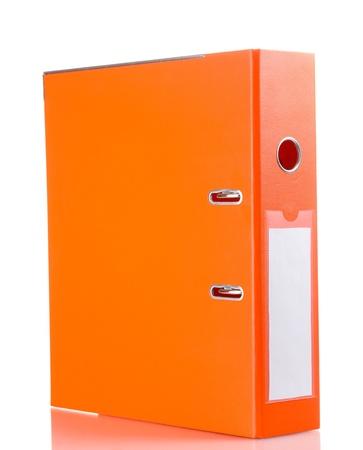 Office orange folder isolated on white photo