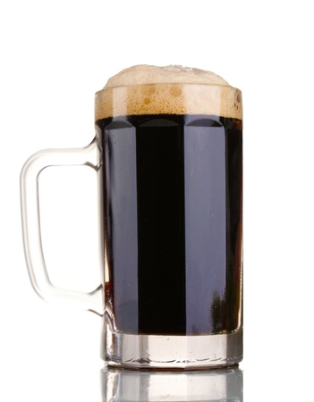 unstrained: dark beer in a mug isolated on white Stock Photo