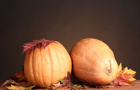 two ripe pumpkins and autumn leaves on wooden table on brown background  photo