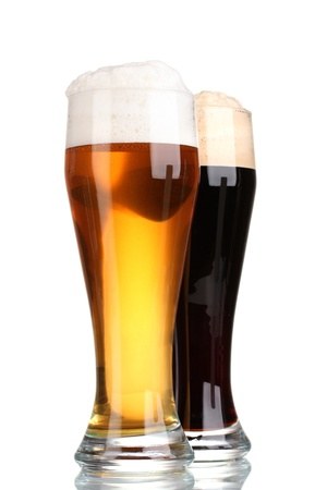 black and golden beer in glasses isolated on white Stock Photo - 12027928