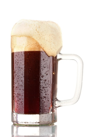red beer with the foam in mug isolated on white photo