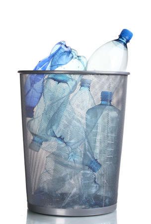 Metal trash bin from plastic bottles isolated on white photo