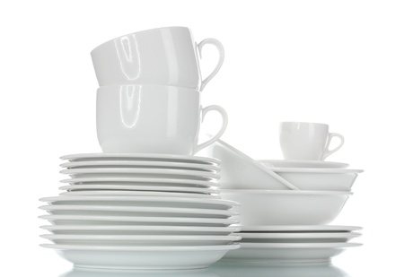 clean dishes: empty bowls, plates and cups isolated on white
