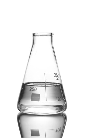 laboratory equipment: Flask with water and reflection isolated on white