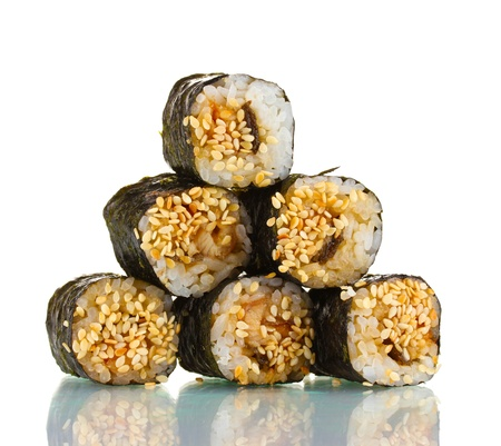 human pyramid: Tasty rolls isolated on white Stock Photo