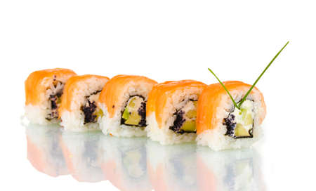 Tasty rolls in line with chopsticks isolated on white Stock Photo - 12097682