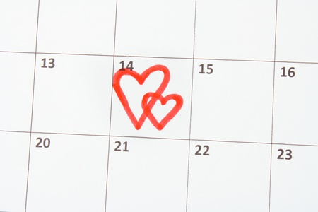 Calendar page with hearts on St.Valentines Day photo