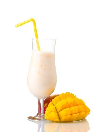 Milk shake with mango isolated on white photo