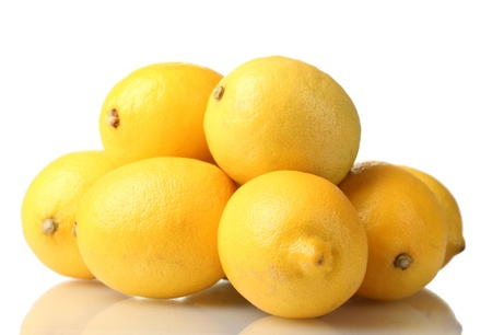 citrus: ripe lemons isolated on white Stock Photo