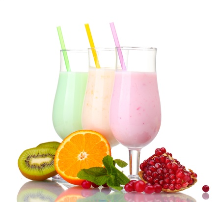 milk shake: Milk shakes with fruits isolated on white