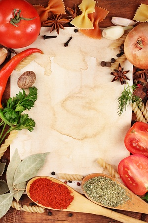 old paper for recipes and spices on wooden table Stock Photo - 12216622