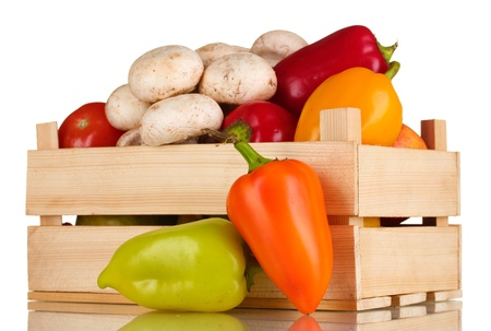 fresh vegetables in wooden box isolated on white Stock Photo - 12216140