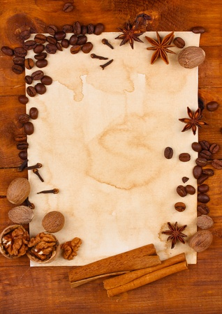 old paper for recipes and spices on wooden table Stock Photo - 12216623