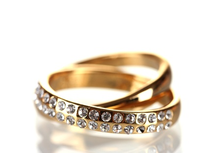 wedding accessories: Golden ring isolated on white Stock Photo