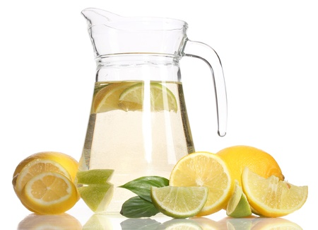 pitcher of lemonade, lime and lemon isolated on white Stock Photo - 12215881