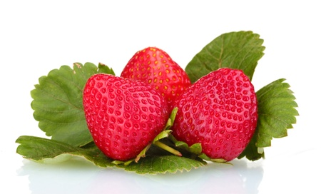 edible leaves: sweet strawberries with leaves isolated on white