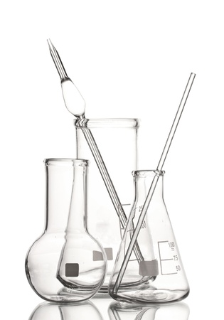drug discovery: Three empty laboratory glassware with reflection isolated on white