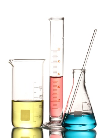 scientific experiment: Three flasks with color liquid and with reflection isolated on white