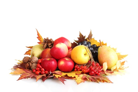beautiful autumn harvest and leaves isolated on white photo
