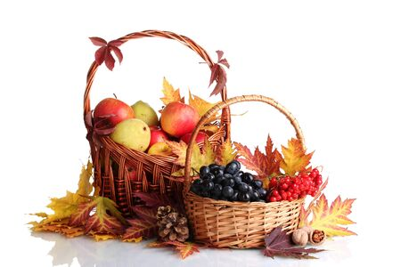 2 november: beautiful autumn harvest in baskets and leaves isolated on white