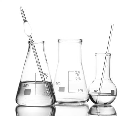 Two flasks with water and one empty flask with reflection isolated on white Stock Photo - 12216781