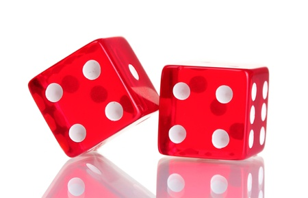 Red dices isolated on white