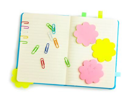 stickies: Open note book with stickies and pencil isolated on white