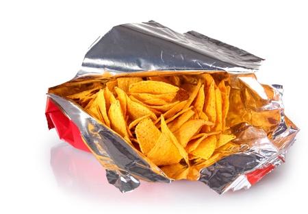 potato crisps: tasty potato chips in bag isolated on white