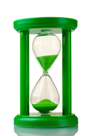 hour glasses: green hourglass isolated on white Stock Photo