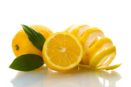 ripe lemons with leaves isolated on white Stock Photo - 12310922