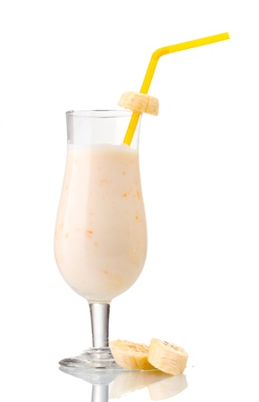 banana peel: Milk cocktail with bananas and chocolate isolated on white Stock Photo